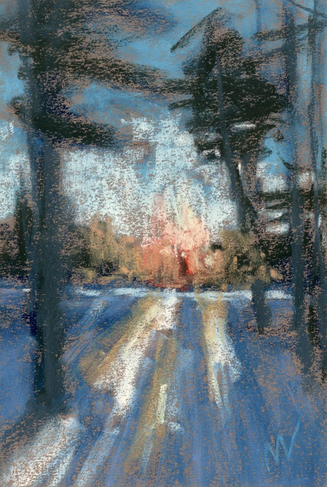 "Long Shadows, 9x6"" pastel on paper, inspired by the Manistee National Forest. ©Marie Marfia."
