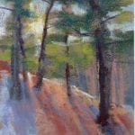 pastel painting of a sunrise through the woods