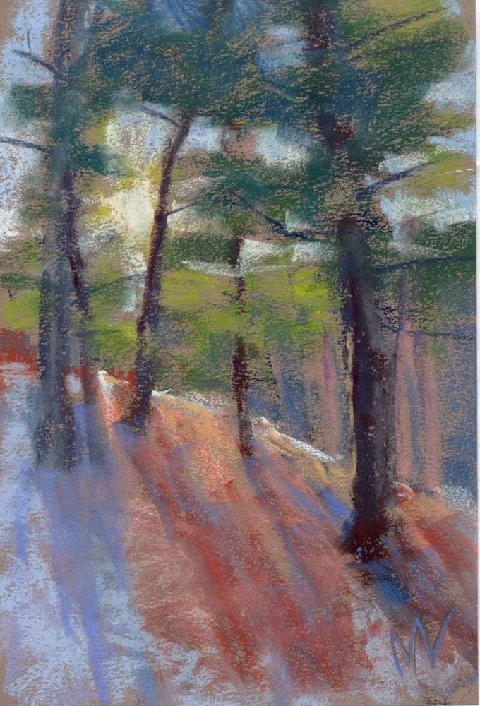 pastel painting of a sunrise in the woods