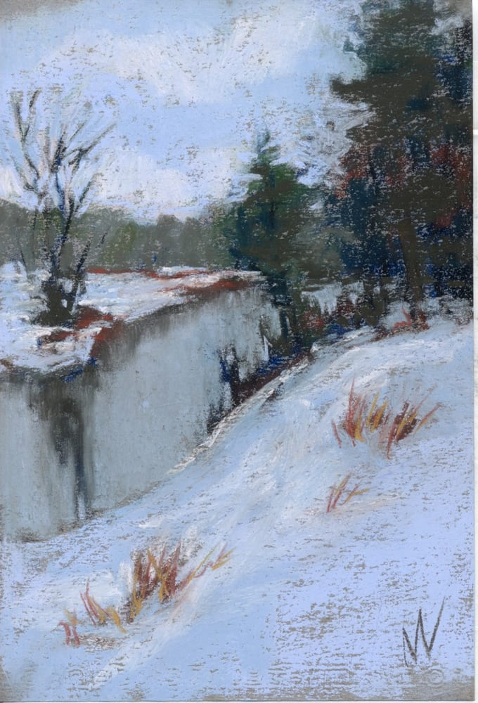 pastel painting of a snowy ridge over the Pere Marquette River.