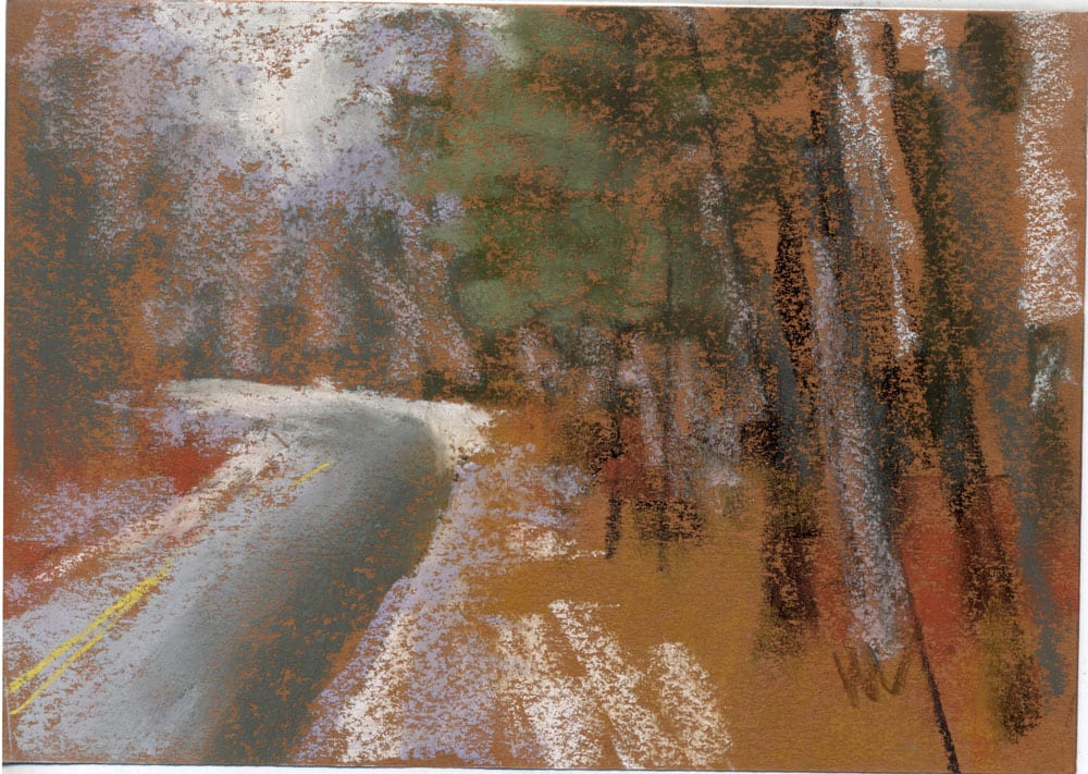 "Road Curves Left, 5x7"" pastel on paper inspired by the Manistee National Forest. ©Marie Marfia."