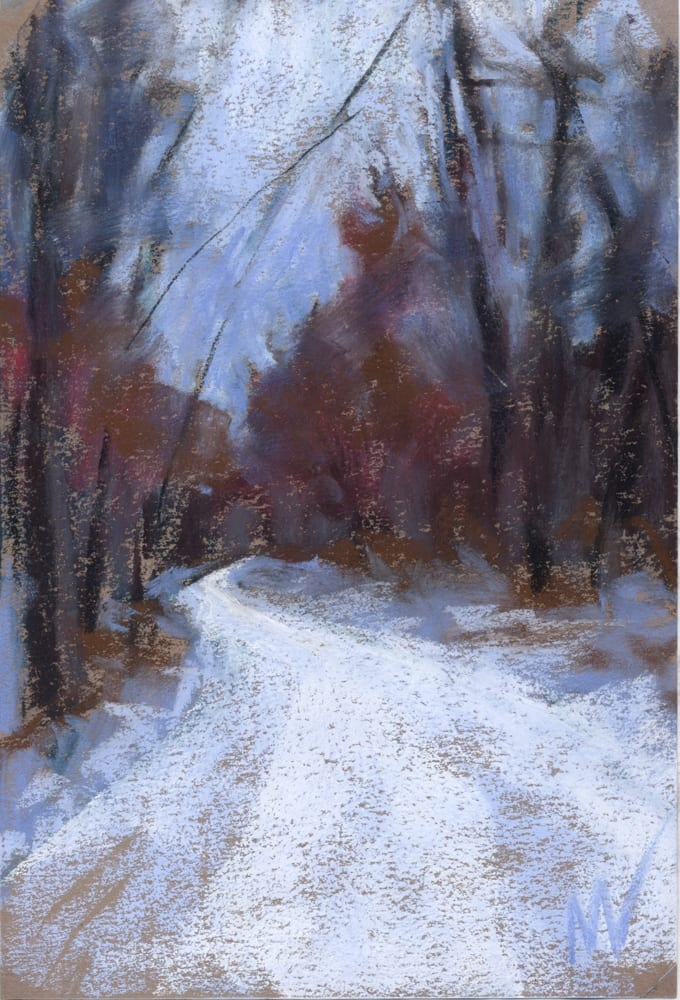 pastel painting of a wintery road through the woods