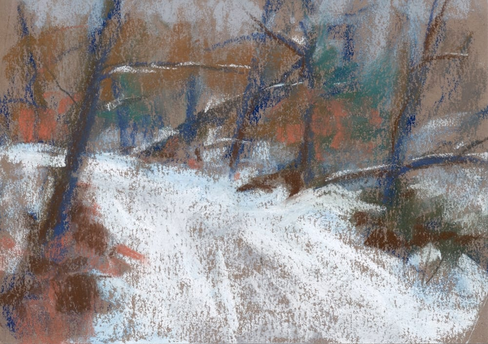 pastel painting of a snowy path through the woods