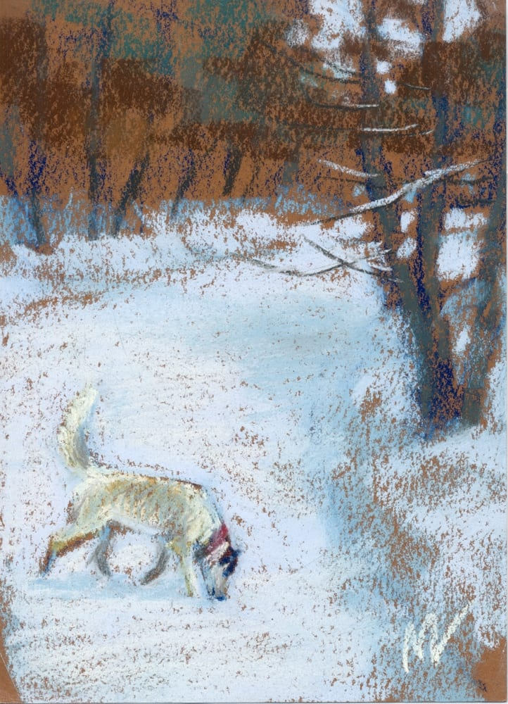 pastel painting of a white dog on a snowy road