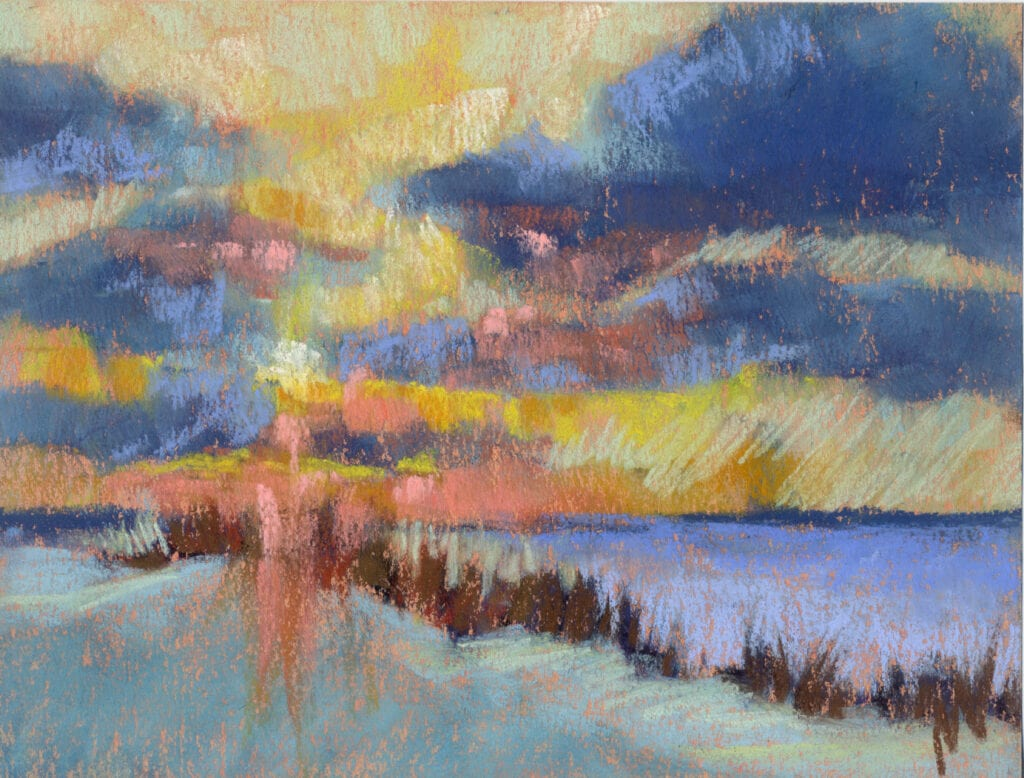pastel painting of a lake michigan sunset during winter