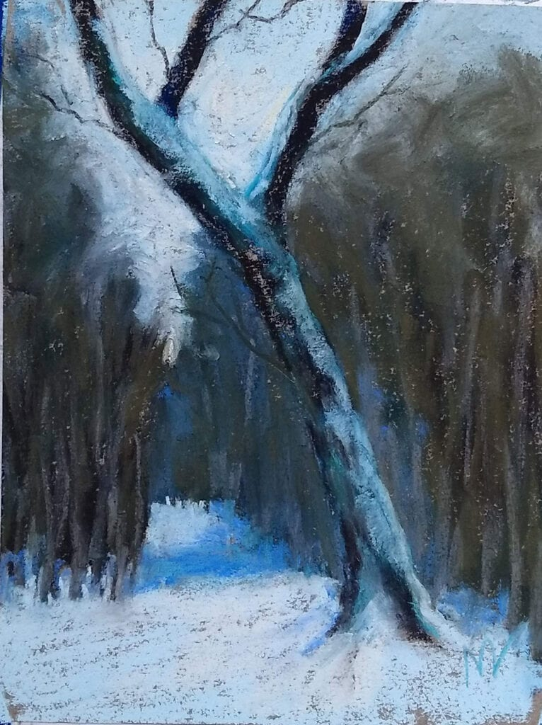 pastel painting of a tree leaning over a trail in the forest during winter time
