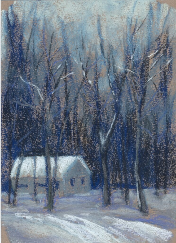 pastel painting of a snow-covered cabin in the woods