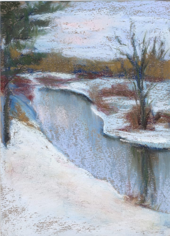 pastel painting of a bend in the river