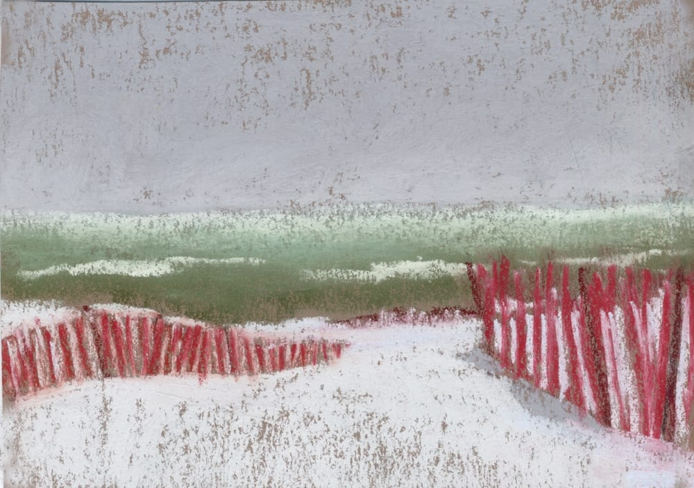 pastel painting of a beach with snow and snow fencing.