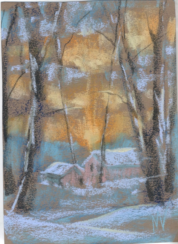 pastel painting of a snow covered cabin in the woods