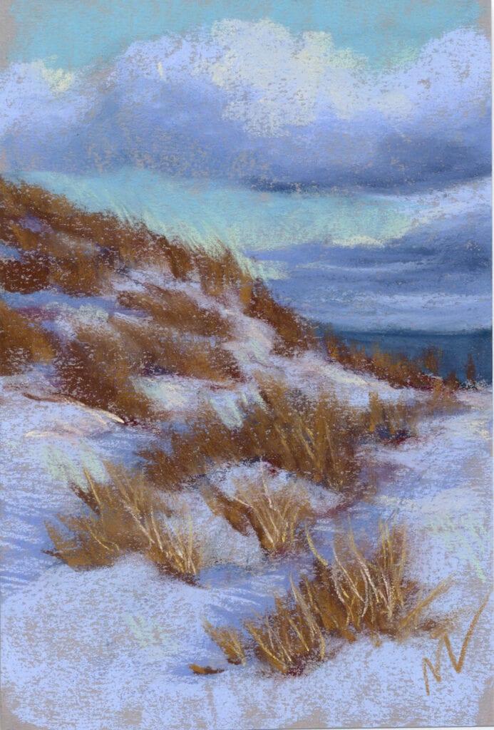 "Marie Marfia, Winter Dune Grass, soft pastel on paper, 9x6"""