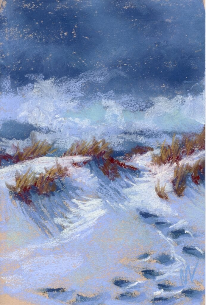 Winter Dune Path, pastel painting of footsteps through the snow on a dune in winter time.