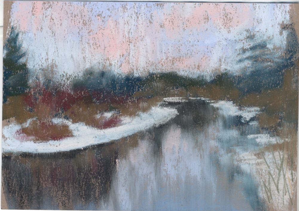 pastel painting of snowy banks on the Pere Marquette River in the Manistee National Forest