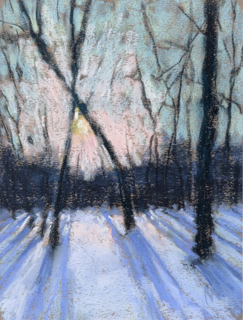pastel painting of a sun rise through the trees in winter time