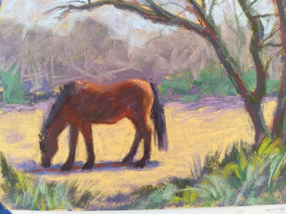 Horse in the paddock, pastel on sanded paper by Marie Marfia