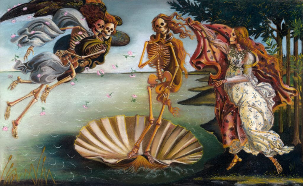 pastel painting of Skelly on the Half Shell, a parody of Botticelli's Birth of Venus