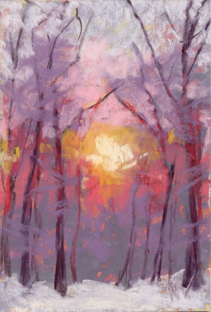 pastel landscape painting of a sunrise in the woods