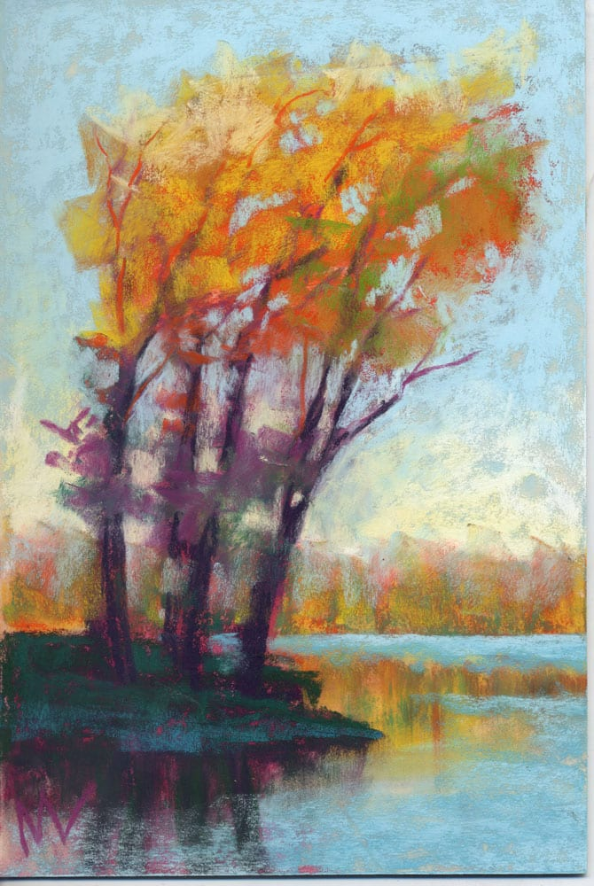pastel painting of a group of autumn trees in yellow and orange