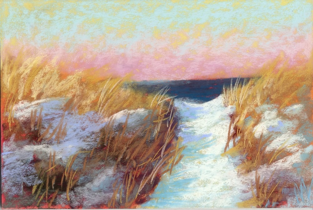 pastel painting of snow on the dunes with Lake Michigan in the background