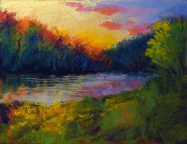 pastel painting of a river bend at sunset
