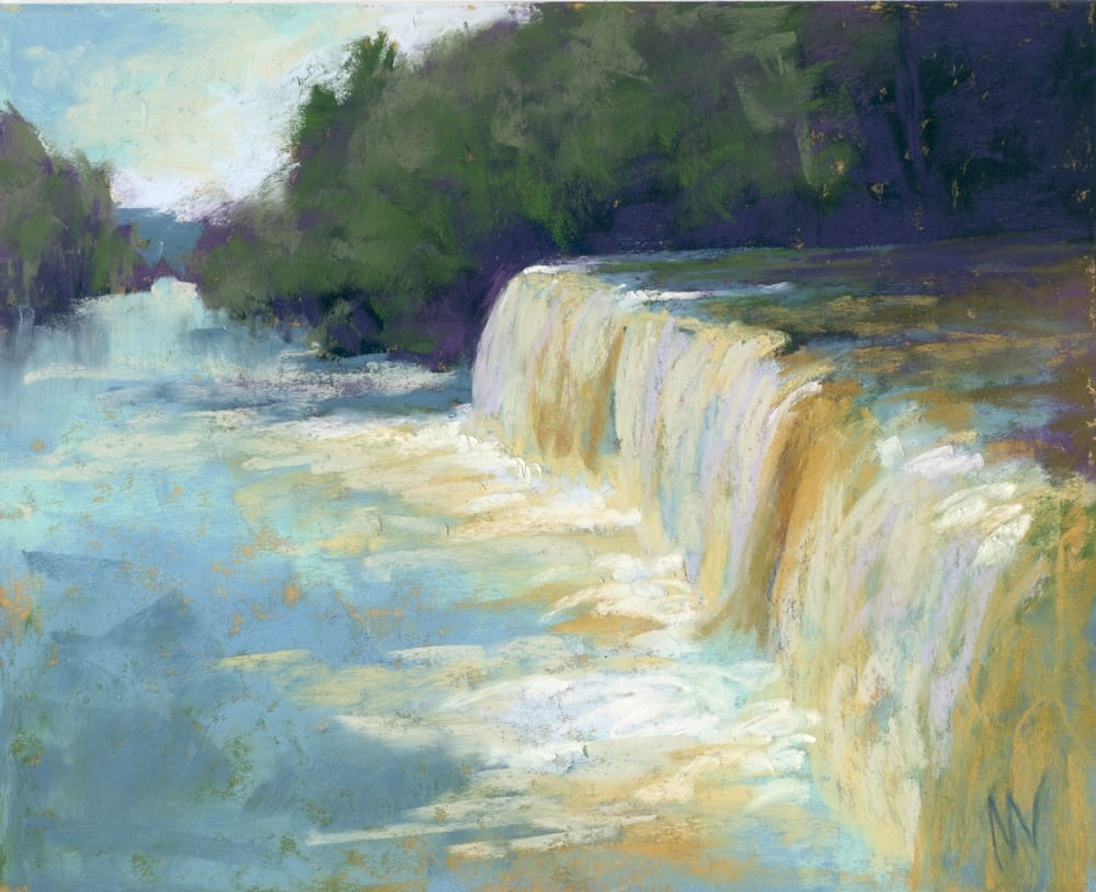 pastel painting of a waterfall in Michigan