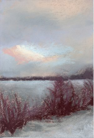 pastel painting of a winter scene on a lake with clouds and sky