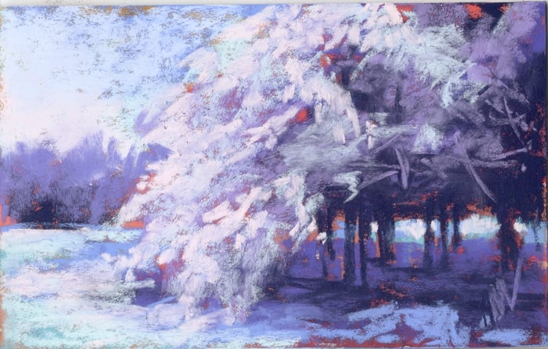 pastel painting of a winter scene