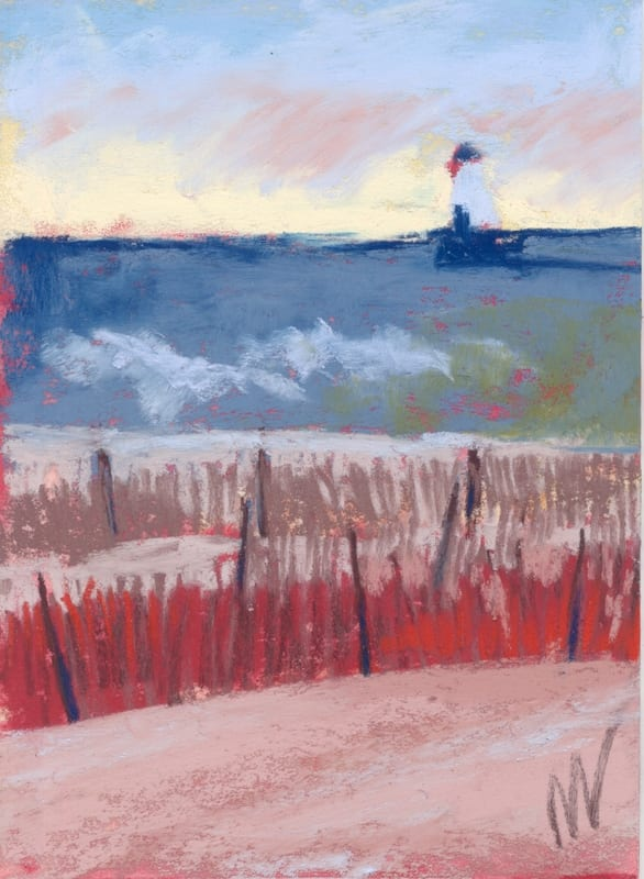 pastel painting of the ludington lighthouse in late fall
