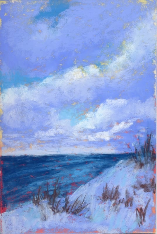 pastel painting of the Lake Michigan shoreline with snow and clouds