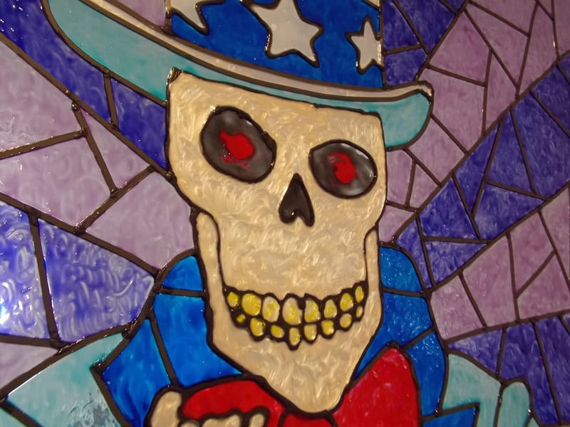 detail of skeleton window art