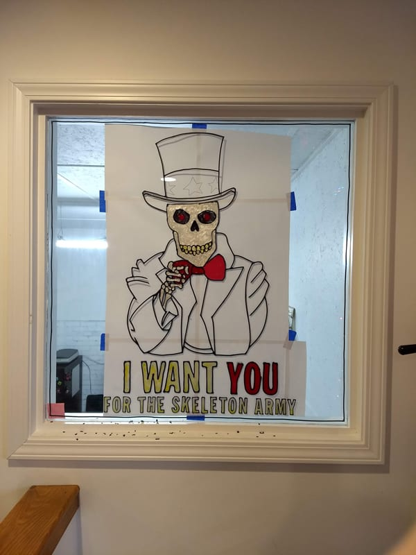 skeleton art window painting