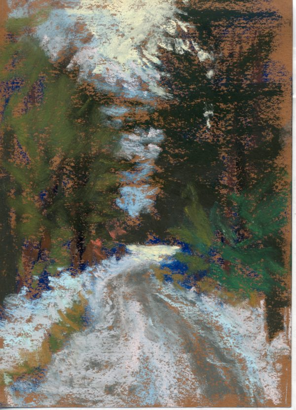 pastel painting of a snow covered road in the woods