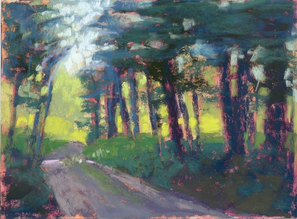 pastel on sanded paper of a road in the woods