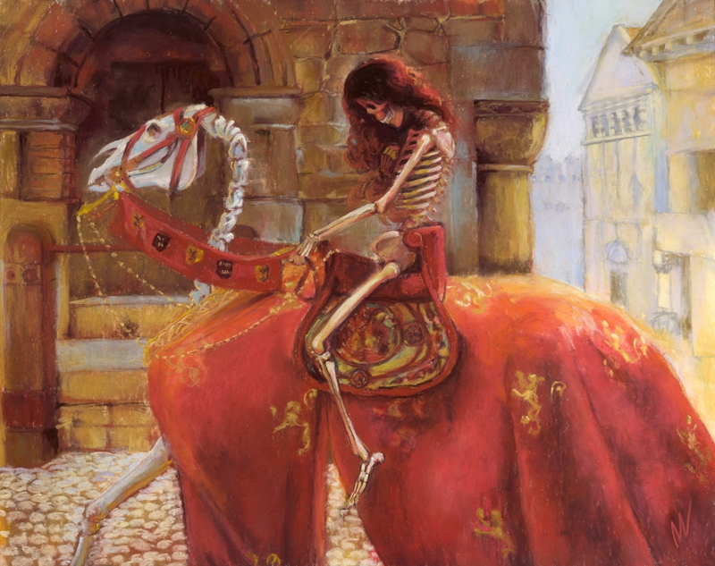 Skelly Godiva, finished pastel painting of a skeleton on a horse, homage to John Collier's famous work.