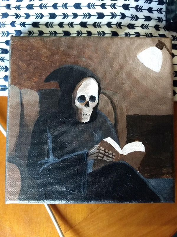 "Catching up on my reading, 5x5"" acrylic on canvas by Marie Marfia"