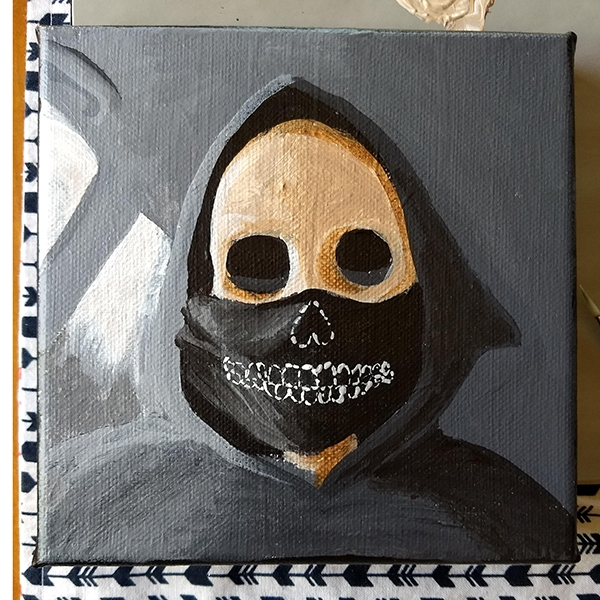 "Wore a mask, 6x6"" acrylic on canvas"