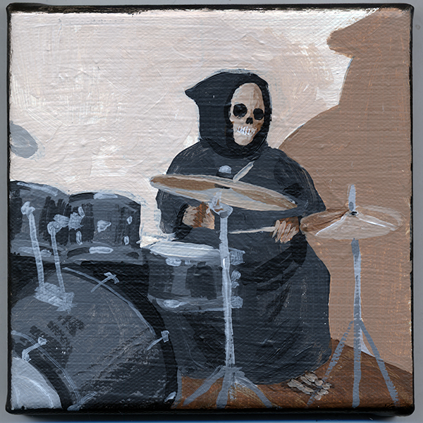 Learned new music, skeleton playing the drums.