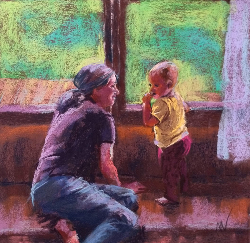 "Getting Reacquainted, 11x11"" pastel on sanded paper by Marie Marfia."
