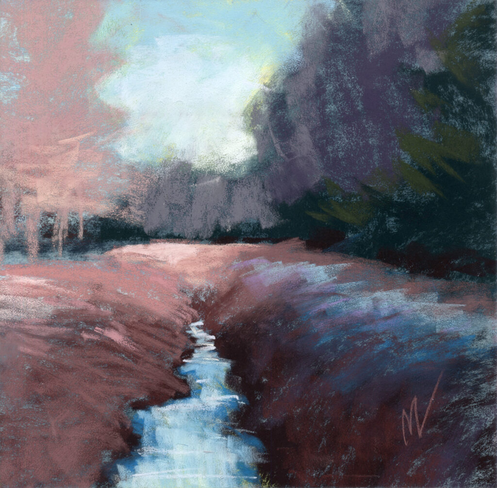landscape ditch water trees