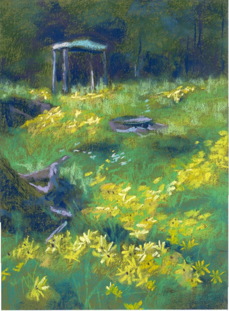 yellow flowers grass