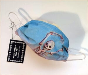 skeleton art mask with elastic bands, copper wire nose piece and featuring skelly dancer no. 8