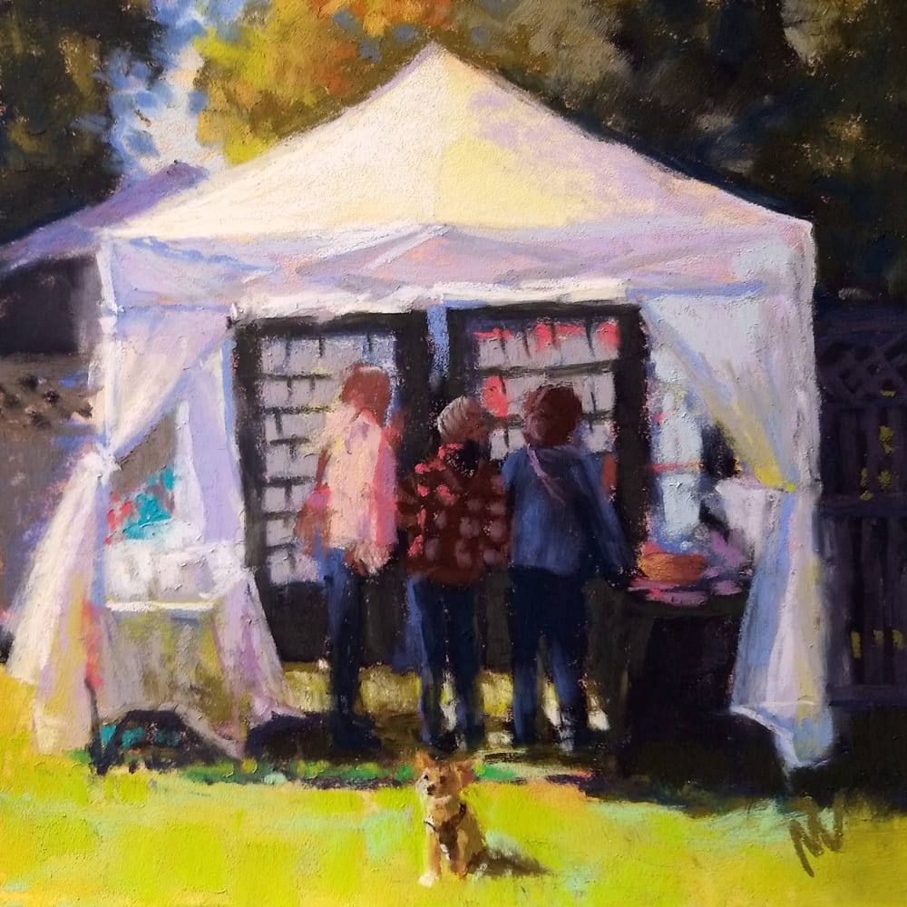 "Art show wrap up painting ""A Little Bit of Normal"" 8x8"" pastel on sanded paper by Marie Marfia."