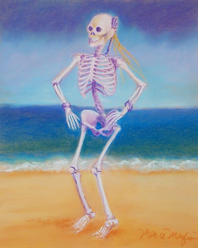 skeleton dancing on the beach