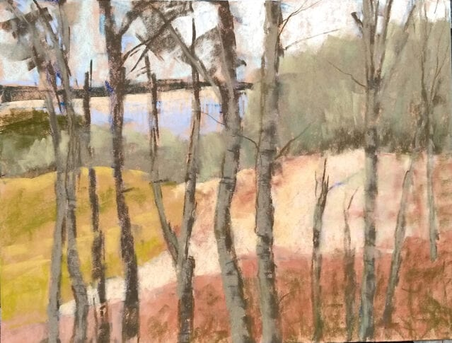 "Poplars in the Park, 12x9"" pastel on sanded paper by Marie Marfia. Available, $900."