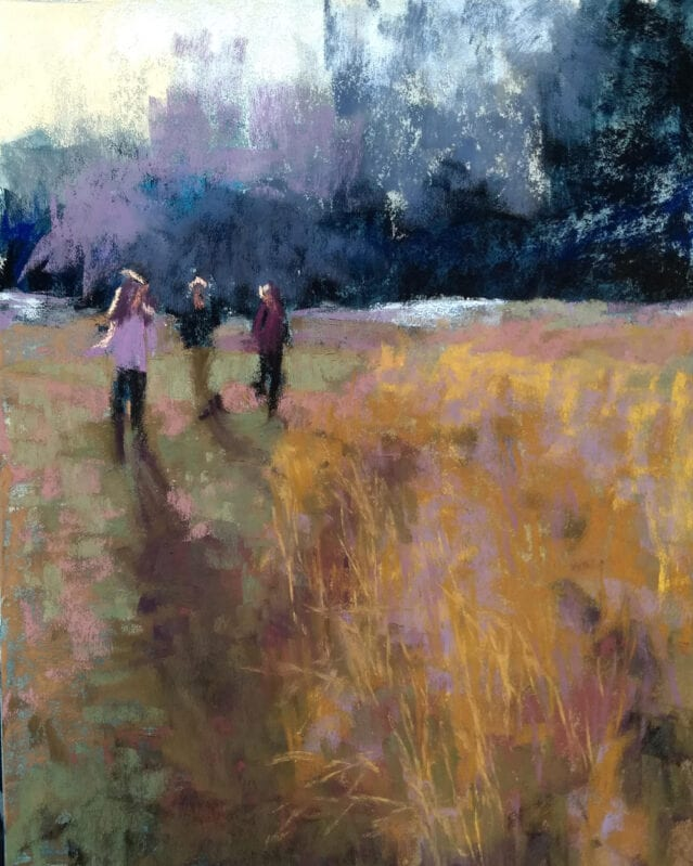 Walking the Perimeter, 8x10 pastel on sanded paper by Marie Marfia. $800.