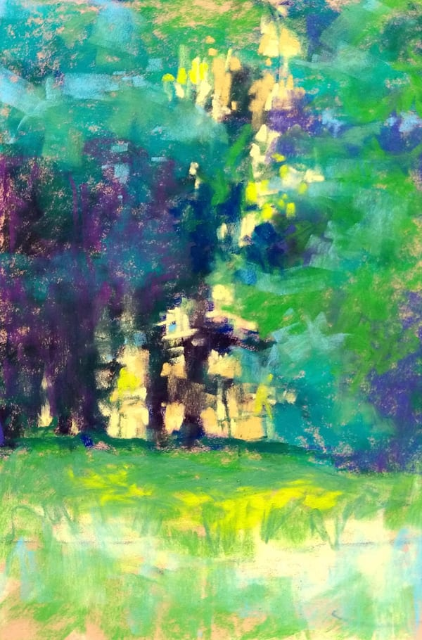 Longing for Summer, pastel painting of sunlight through the greenery by Marie Marfia. Available $600