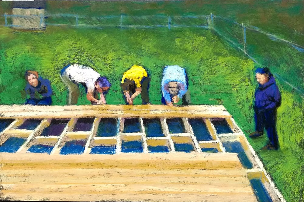 "Marie Marfia, Work Crew, soft pastel on gessoed gatorboar, 8x12"""