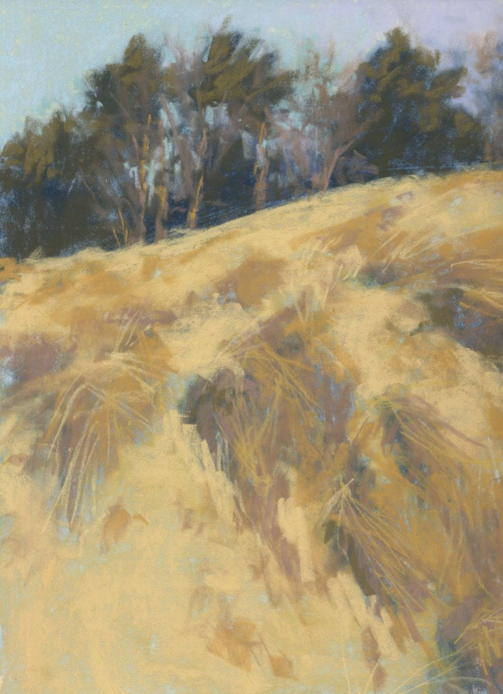 Marie Marfia, Walking in the Dunes, soft pastel on sanded paper, 9x12""