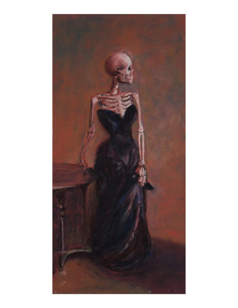 """Marie Marfia, Madame X-Ray, soft pastel on sanded paper, 12x6"""""""