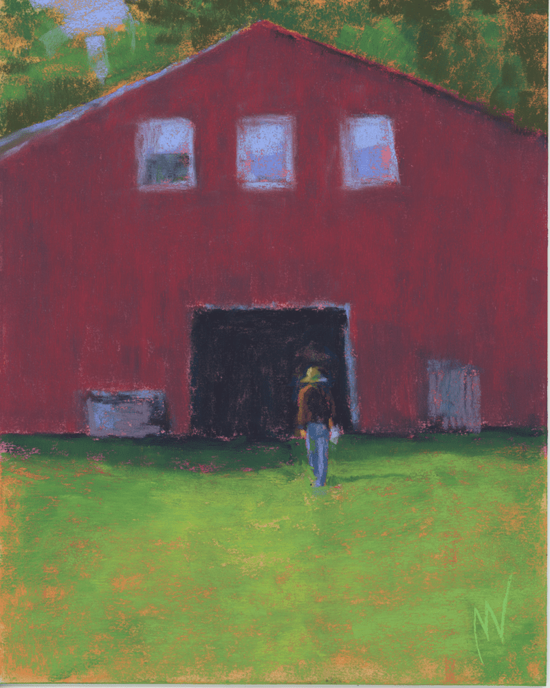 """Marie Marfia, Walking to the Barn, soft pastel on sanded paper, 10x8"""""""